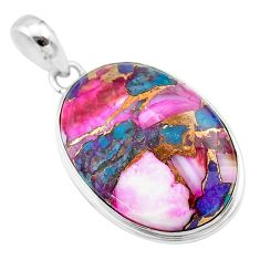 16.20cts spiny oyster arizona turquoise 925 sterling silver pendant t32321