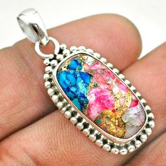 7.53cts spiny oyster arizona turquoise 925 sterling silver pendant t53166