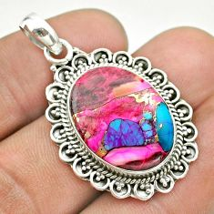 14.26cts spiny oyster arizona turquoise 925 sterling silver pendant t53168
