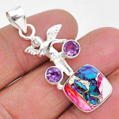 6.28cts spiny oyster arizona turquoise amethyst 925 silver angel pendant r93291