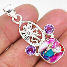 6.84cts spiny oyster arizona turquoise amethyst 925 silver angel pendant r93310
