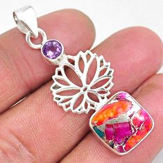7.30cts spiny oyster arizona turquoise amethyst 925 silver flower pendant r93283