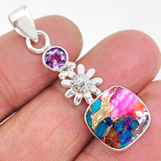 5.24cts spiny oyster arizona turquoise amethyst 925 silver flower pendant r93292