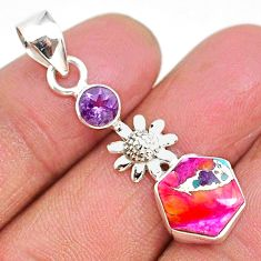 5.24cts spiny oyster arizona turquoise amethyst 925 silver flower pendant r93301