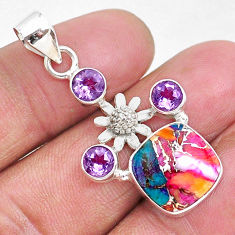 8.45cts spiny oyster arizona turquoise amethyst 925 silver flower pendant r93317