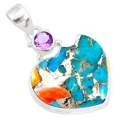 14.68cts spiny oyster arizona turquoise amethyst 925 silver heart pendant r86387