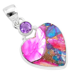13.15cts spiny oyster arizona turquoise amethyst 925 silver heart pendant r93451
