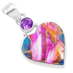 13.67cts spiny oyster arizona turquoise amethyst 925 silver heart pendant r93454