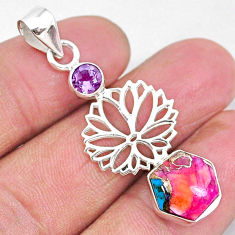 5.10cts spiny oyster arizona turquoise amethyst 925 silver pendant r93316