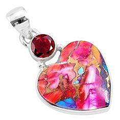 14.23cts spiny oyster arizona turquoise garnet 925 silver heart pendant r93446