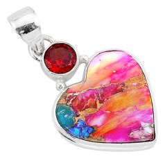 13.67cts spiny oyster arizona turquoise garnet 925 silver heart pendant r93458