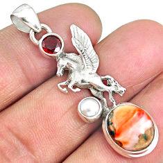 6.86cts spiny oyster arizona turquoise garnet 925 unicorn silver pendant r90336