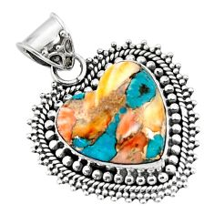 14.80cts spiny oyster arizona turquoise heart 925 sterling silver pendant r47123