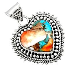 14.50cts spiny oyster arizona turquoise heart 925 sterling silver pendant r47129
