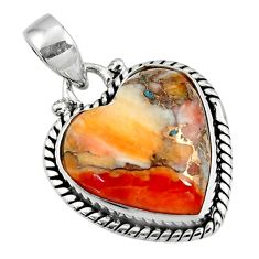 12.98cts spiny oyster arizona turquoise heart 925 sterling silver pendant r47660