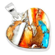 16.20cts spiny oyster arizona turquoise heart 925 sterling silver pendant r83250