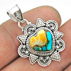 5.23cts spiny oyster arizona turquoise heart 925 sterling silver pendant t56042
