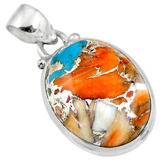13.57cts spiny oyster arizona turquoise oval 925 sterling silver pendant r47702