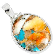15.31cts spiny oyster arizona turquoise oval 925 sterling silver pendant r81171