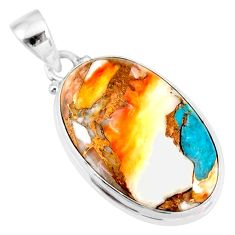 15.08cts spiny oyster arizona turquoise oval 925 sterling silver pendant r83433