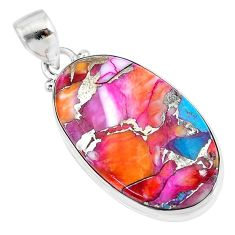 19.23cts spiny oyster arizona turquoise oval 925 sterling silver pendant t10637