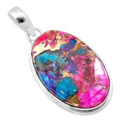 14.20cts spiny oyster arizona turquoise oval 925 sterling silver pendant t32287