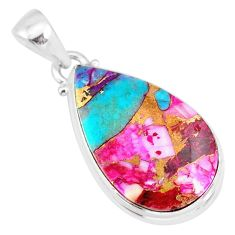 12.55cts spiny oyster arizona turquoise pear 925 sterling silver pendant r83383