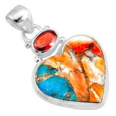 15.65cts spiny oyster arizona turquoise red garnet 925 silver pendant r83461
