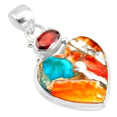 16.20cts spiny oyster arizona turquoise red garnet 925 silver pendant r83462
