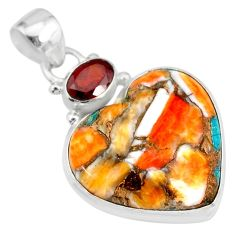 17.57cts spiny oyster arizona turquoise red garnet 925 silver pendant r83470