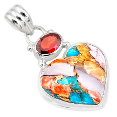 14.23cts spiny oyster arizona turquoise red garnet 925 silver pendant r83483