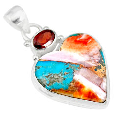 17.22cts spiny oyster arizona turquoise red garnet 925 silver pendant r83490