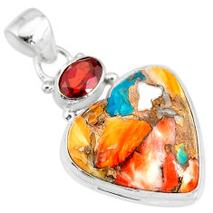 15.08cts spiny oyster arizona turquoise red garnet 925 silver pendant r83505