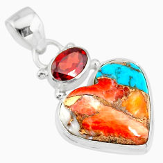 12.22cts spiny oyster arizona turquoise red garnet 925 silver pendant r83507