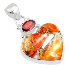 15.05cts spiny oyster arizona turquoise red garnet 925 silver pendant r83511