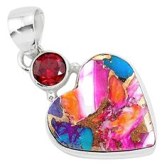 13.55cts spiny oyster arizona turquoise red garnet 925 silver pendant r93443