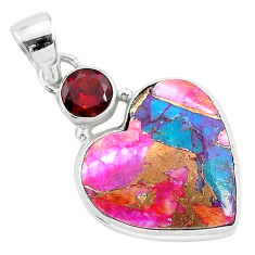 14.23cts spiny oyster arizona turquoise red garnet 925 silver pendant r93461