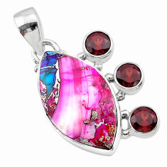 15.08cts spiny oyster arizona turquoise red garnet 925 silver pendant t30418