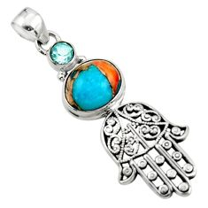 6.39cts spiny oyster arizona turquoise silver hand of god hamsa pendant r52785