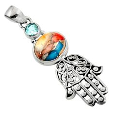 6.16cts spiny oyster arizona turquoise silver hand of god hamsa pendant r52790