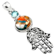 6.03cts spiny oyster arizona turquoise silver hand of god hamsa pendant r52823