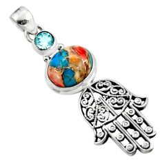 6.26cts spiny oyster arizona turquoise silver hand of god hamsa pendant r52824