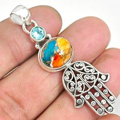 6.54cts spiny oyster arizona turquoise silver hand of god hamsa pendant r90399