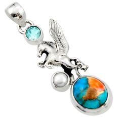 6.26cts spiny oyster arizona turquoise topaz 925 silver unicorn pendant r52703