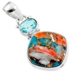 16.10cts spiny oyster arizona turquoise topaz 925 sterling silver pendant r47861