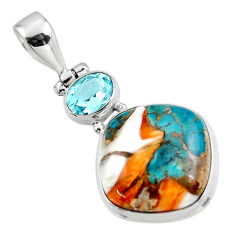 15.55cts spiny oyster arizona turquoise topaz 925 sterling silver pendant r47869