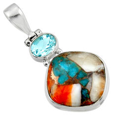 14.15cts spiny oyster arizona turquoise topaz 925 sterling silver pendant r47872