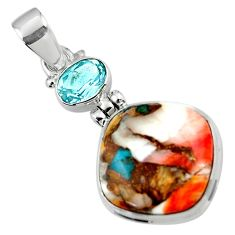 15.12cts spiny oyster arizona turquoise topaz 925 sterling silver pendant r47874