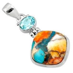 14.90cts spiny oyster arizona turquoise topaz 925 sterling silver pendant r47875