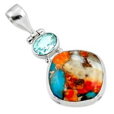 14.07cts spiny oyster arizona turquoise topaz 925 sterling silver pendant r47882